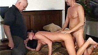 sexy video: Swinger big booty brunette milf fucked by old man