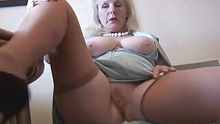 sexy video: Curvy mature british milf lady in stockings strips and poses