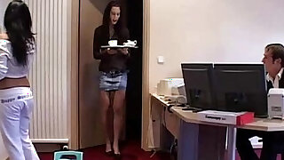 sexy video: Maid and office assistant threesome each other with the boss