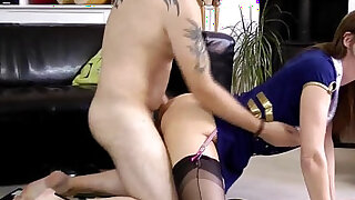 sexy video: British milf cockriding while in stockings