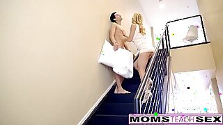 sexy video: milf giving hot cream pie to sons exercise session