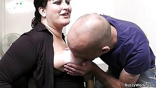 sexy video: office secretary with big tits straponfucked